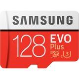 Samsung Evo Plus microSD 128 GB geheugenkaart Rood/wit, MB-MC128GA/EU, Class 10, incl. adapter