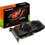 GIGABYTE GeForce GTX 1070 Ti WINDFORCE 8G grafische kaart Zwart/rood, DVI, HDMI, 3x DisplayPort, SLI