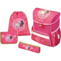 Herlitz Loop Plus Spring Horses schoolset (schooltas, sporttasje en 2 etuis) Pink