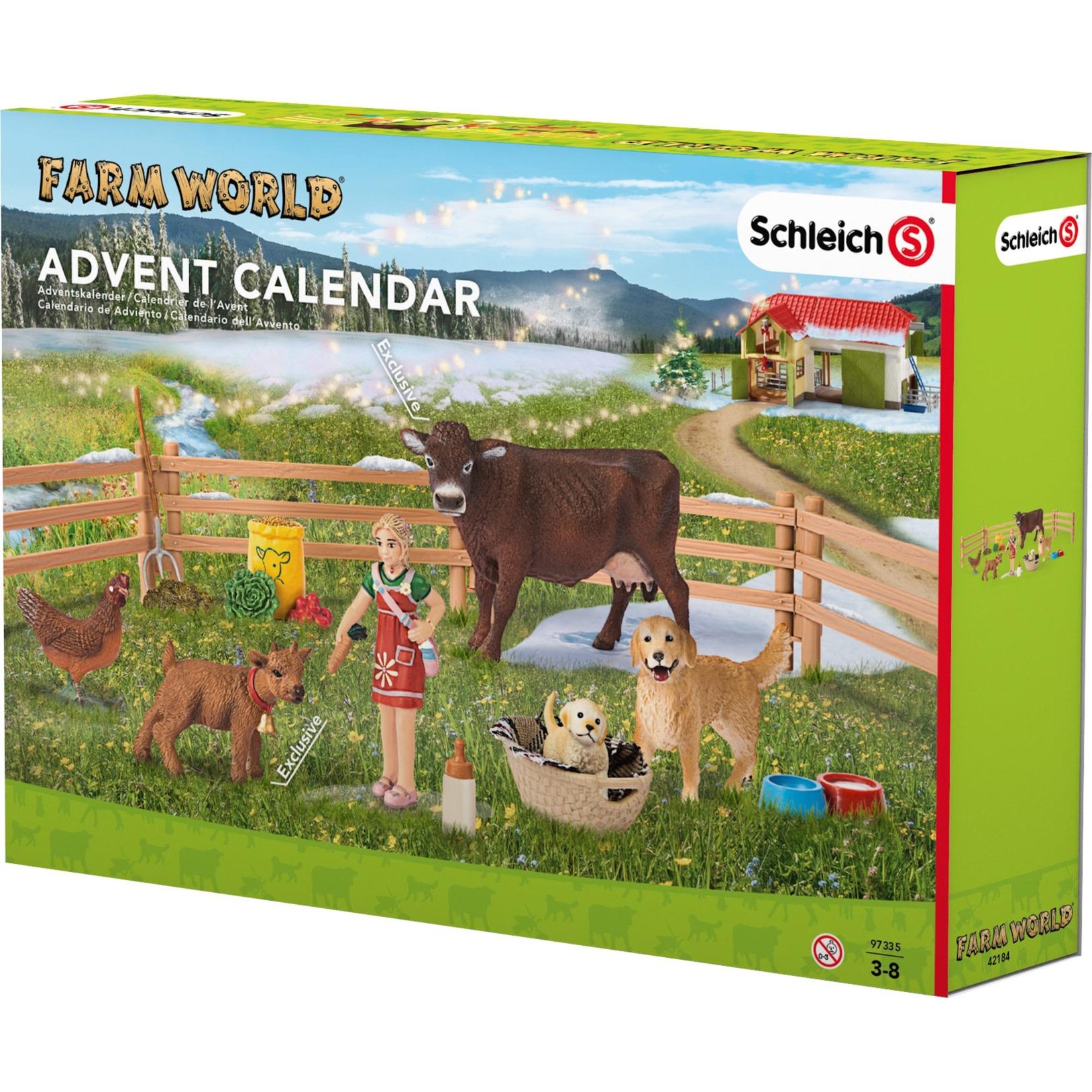 Schleich Weihnachtskalender.Adventskalender Farm World Speelgoedfiguur 97335